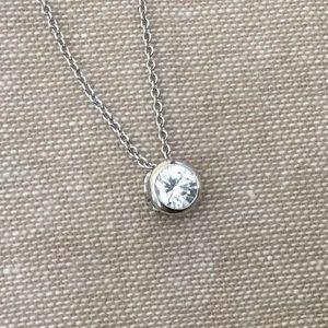 FAKE diamond solitaire necklace